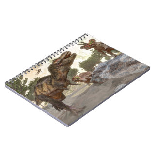 Cadernos Rex do tiranossauro que escapa do ataque do