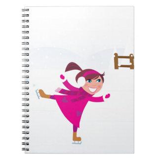 Cadernos Rosa do miúdo do patinagem no gelo
