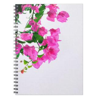 Cadernos rosa floral. fim acima