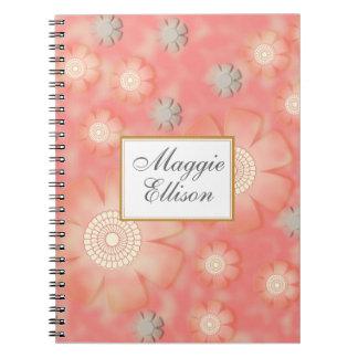 Cadernos Rosa personalizado e cinzas florais