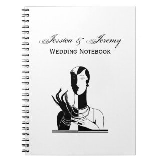 Cadernos Senhora Com Pérola Preto Transp do art deco do