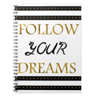 Cadernos Siga seus sonhos inspirados