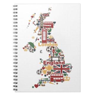 Cadernos Símbolos do mapa de Inglaterra