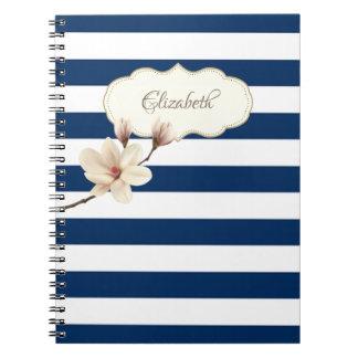 Cadernos Stripses adoráveis dos azuis marinhos, magnólia,
