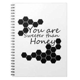 Cadernos Tema do mel com palavras positivas
