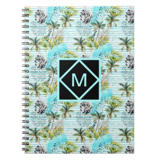Cadernos Teste padrão abstrato da palmeira da aguarela