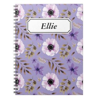 Cadernos Teste padrão botânico floral roxo tirado romântico