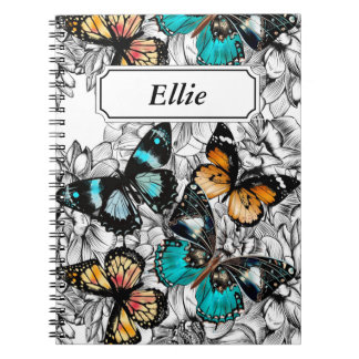 Cadernos Teste padrão colorido do esboço das borboletas