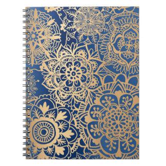 Cadernos Teste padrão da mandala do azul e do ouro