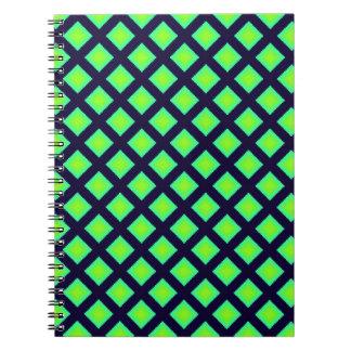 Cadernos Teste padrão da xadrez do verde e dos azuis
