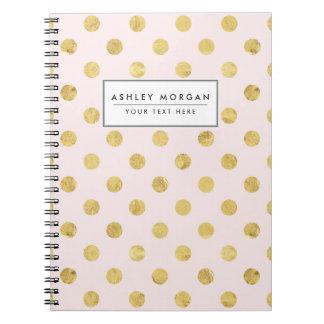 Cadernos Teste padrão de bolinhas elegante da folha de ouro