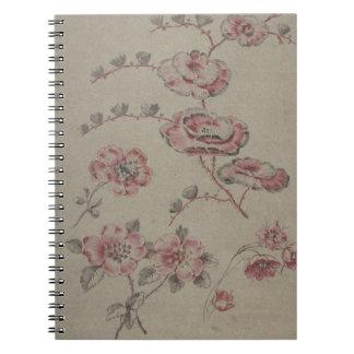 Cadernos Teste padrão de flor cor-de-rosa - francês