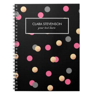 Cadernos teste padrão de pontos cinzento dos confetes do