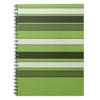 Cadernos Teste padrão horizontal verde das listras das