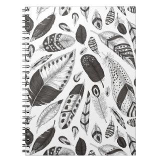 Cadernos Teste padrão preto e branco das penas
