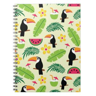 Cadernos Teste padrão tropical do verão de Toucan