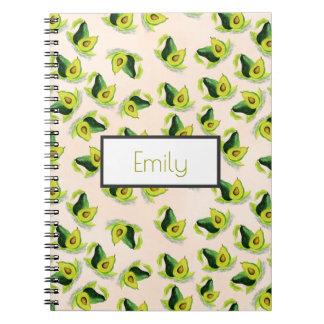 Cadernos Teste padrão verde da aguarela dos abacates