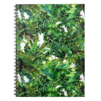 Cadernos Teste padrão verde da queda da floresta da