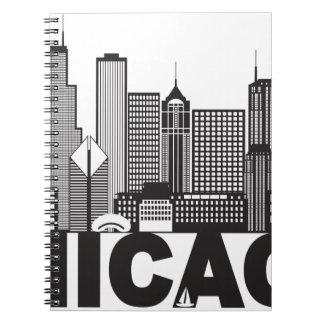 Cadernos Texto da skyline da cidade de Chicago preto e