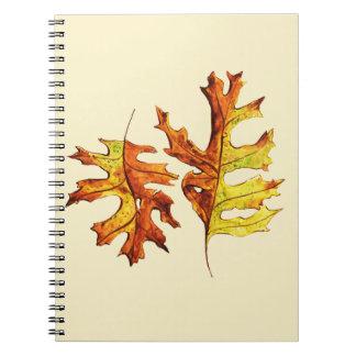 Cadernos Tinta e folhas de outono de dança pintadas