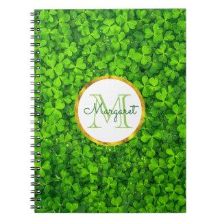 Cadernos Trevos verdes luxúrias com folha de ouro do FALSO