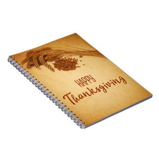 Cadernos Trigo feliz da acção de graças do vintage -