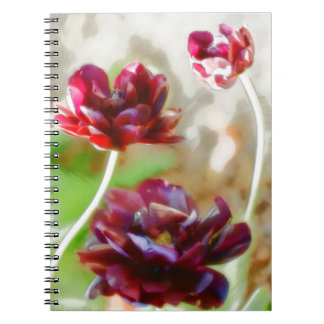 Cadernos Trio de florescência da tulipa da peônia escura do