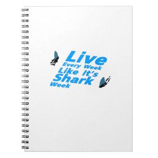 Cadernos Tubarões da semana do tubarão engraçados