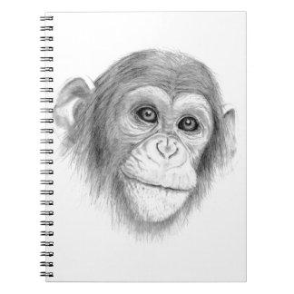 Cadernos Um chimpanzé, não monkeying ao redor o esboço