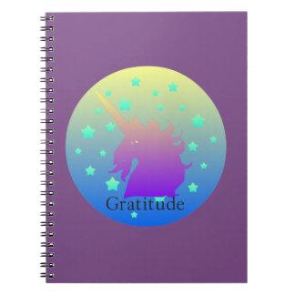 Cadernos Unicórnio de Ombre com gratitude da palavra