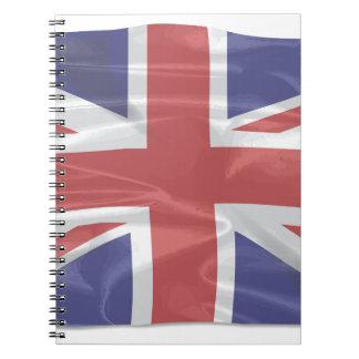 Cadernos Union Jack de seda de vibração