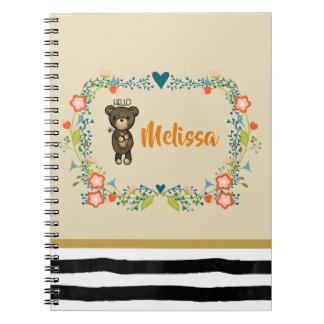 Cadernos Urso bonito, flor amarela & costume floral da