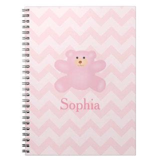 Cadernos Urso de ursinho feminino bonito do rosa Pastel
