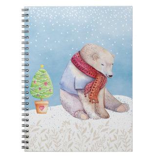 Cadernos Urso polar e árvore de Natal na neve