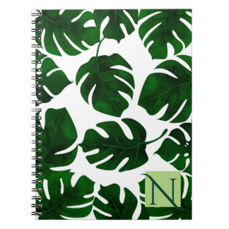 Cadernos Verão tropical verde escuro das folhas de palmeira