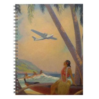 Cadernos Viagem havaiano do vintage - dançarino da menina