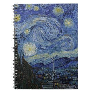 Cadernos Vincent van Gogh - noite estrelado. Pintura da