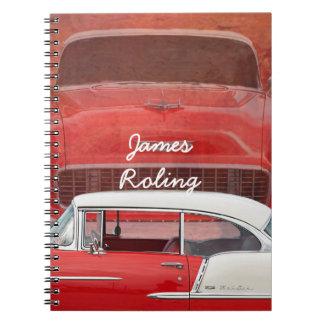 Cadernos Vintage branco vermelho Dodge do Bel Air clássico