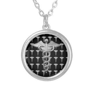 Caduceus médico de prata colar com pendente redondo