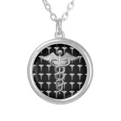 Caduceus médico de prata bijuterias