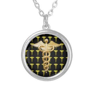 Caduceus médico do ouro colar personalizado