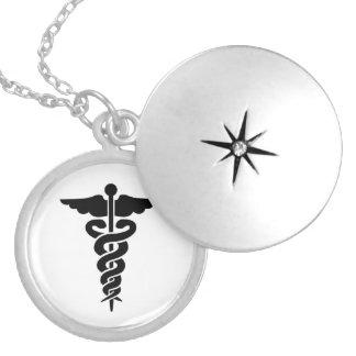 Caduceus médico do símbolo das enfermeiras colar medalhão