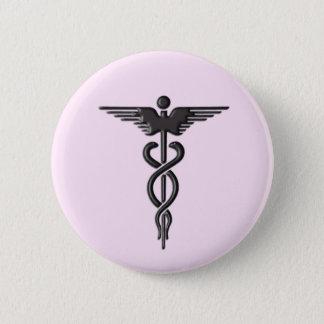 Caduceus médico no rosa bóton redondo 5.08cm