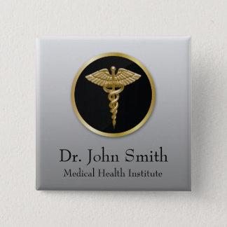 Caduceus médico profissional do ouro - botão bóton quadrado 5.08cm