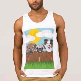 Cães afortunados da ilustração em uma cerca de