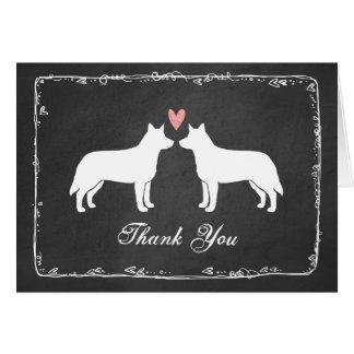 Cães australianos do gado que Wedding o obrigado Cartão