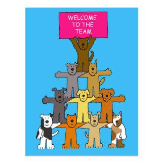 Cães, boa vinda à equipe cartão postal