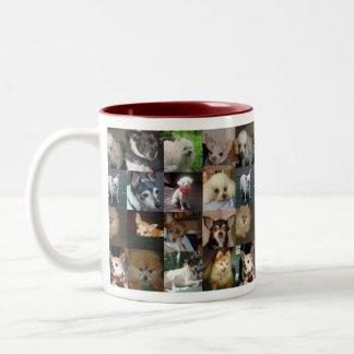 Cães, cães, cães! caneca de café em dois tons