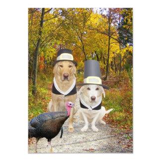 Cães/convite engraçados acção de graças dos convite 11.30 x 15.87cm