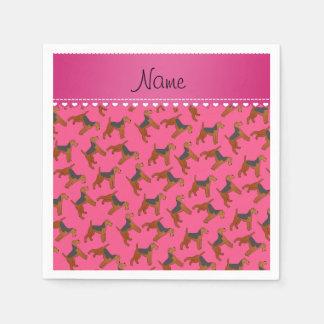 Cães cor-de-rosa conhecidos personalizados dos guardanapo de papel